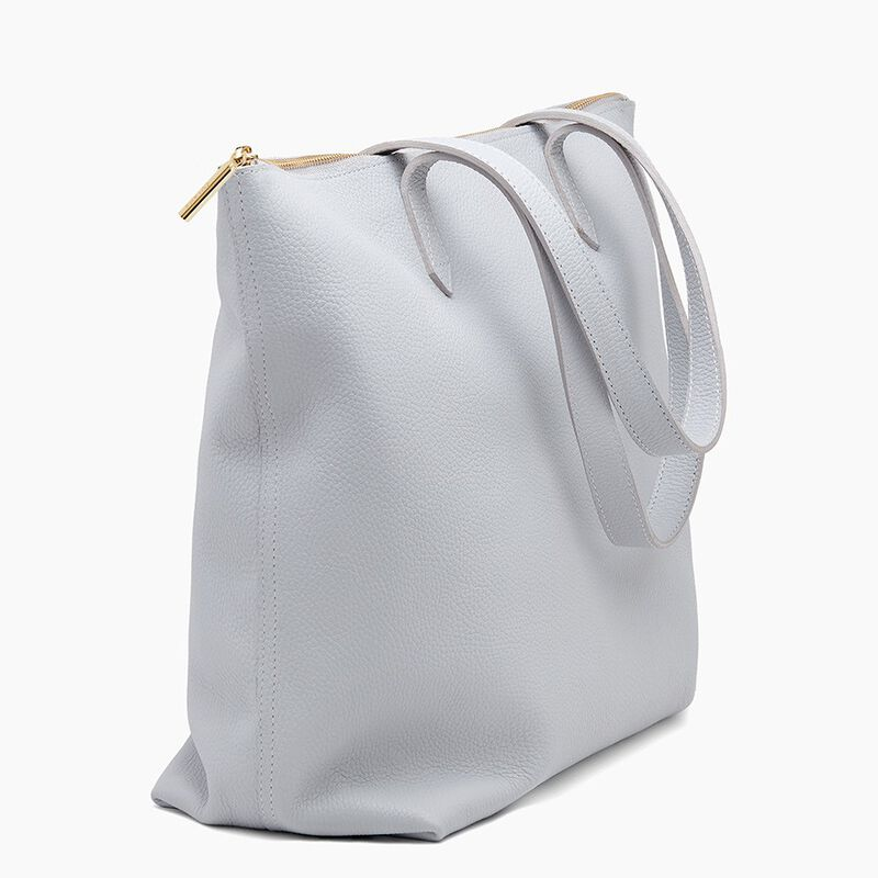 Classic Leather Zipper Tote in Pearl Grey