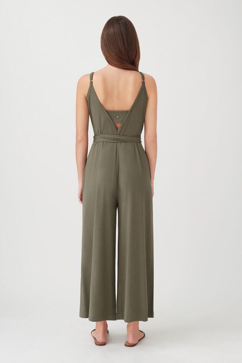 V-Back Jumpsuit in Olive