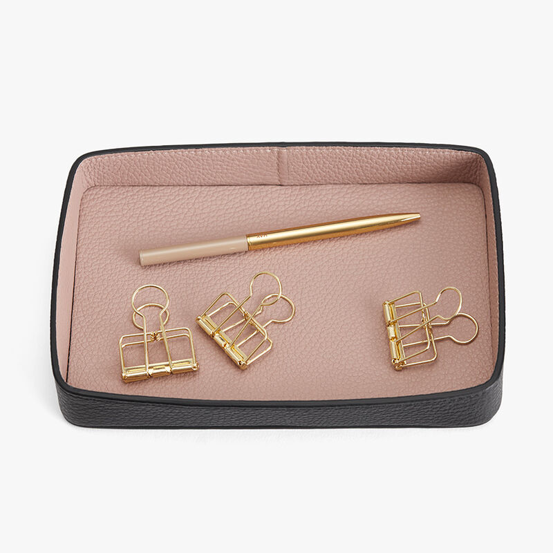 Leather Organizer Tray in Black/Soft Rose