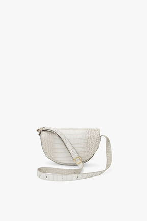 Croc-Embossed Half-Moon Mini Bag