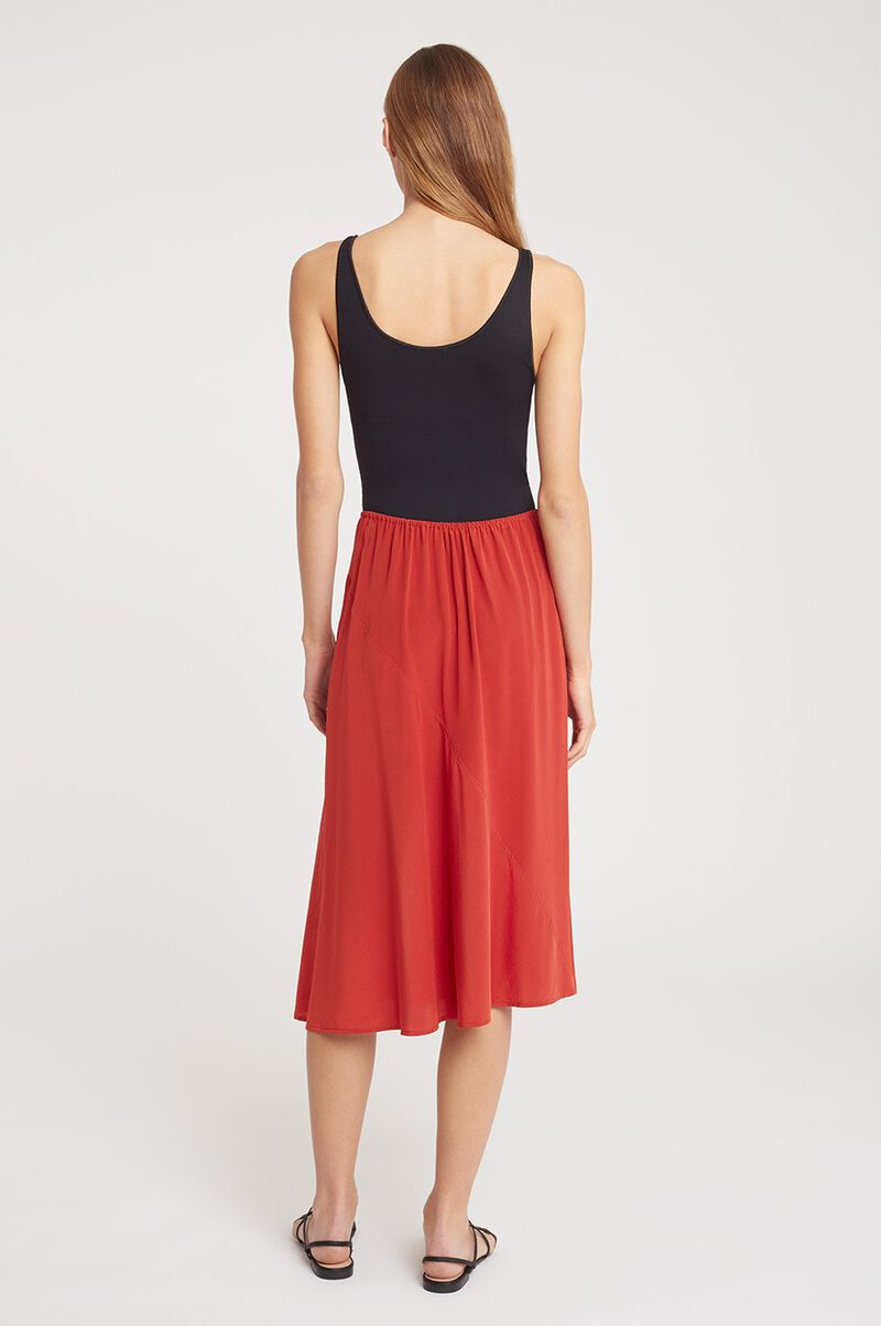 Silk Asymmetrical Skirt in Blood Orange