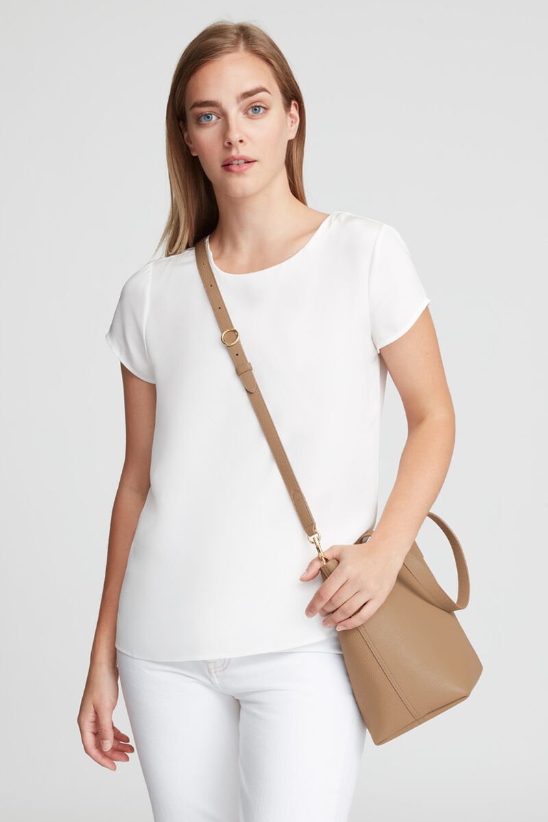 Small Structured Leather Tote in Cappuccino/Yellow