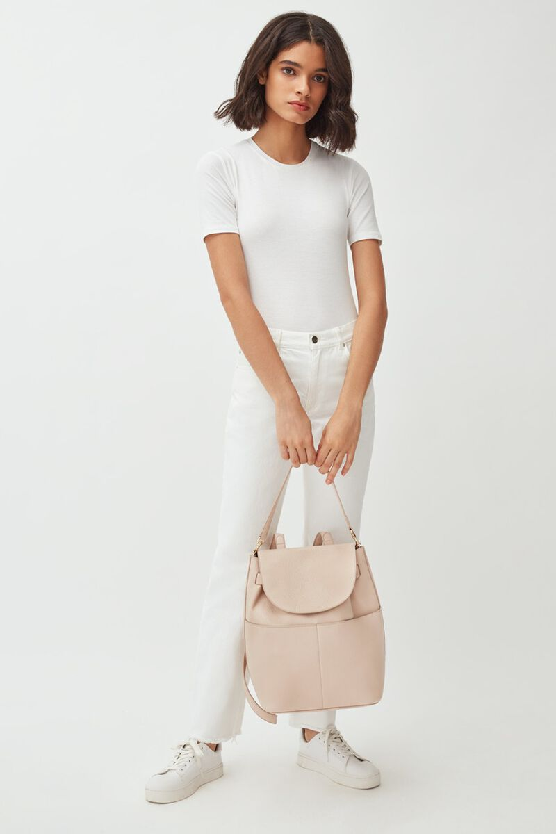 Leather Backpack in Blush