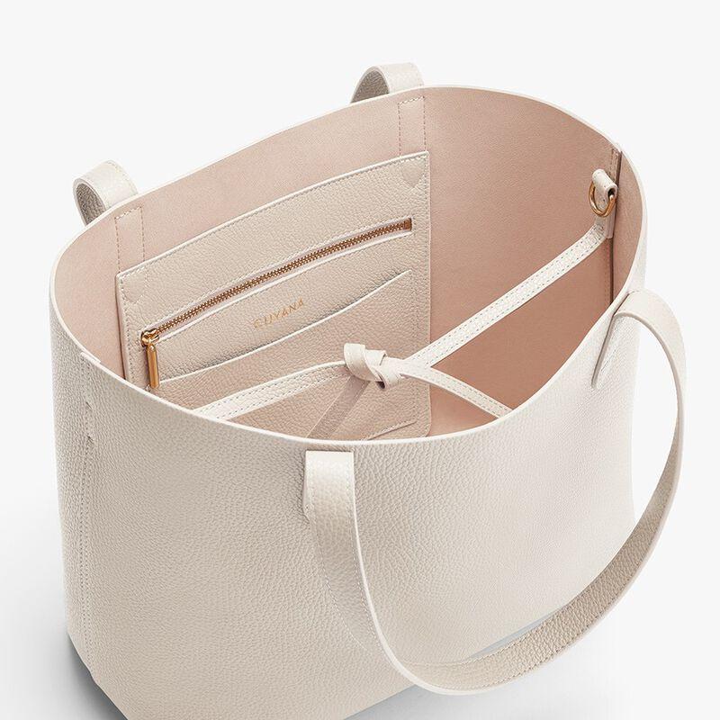 Small Structured Leather Tote in Ecru/Blush