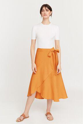 Linen Ruffle Wrap Skirt