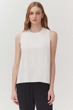 Washable Silk Muscle Tee, White, plp