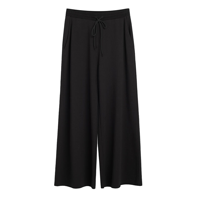 French Terry Wide-Leg Cropped Pant in Black