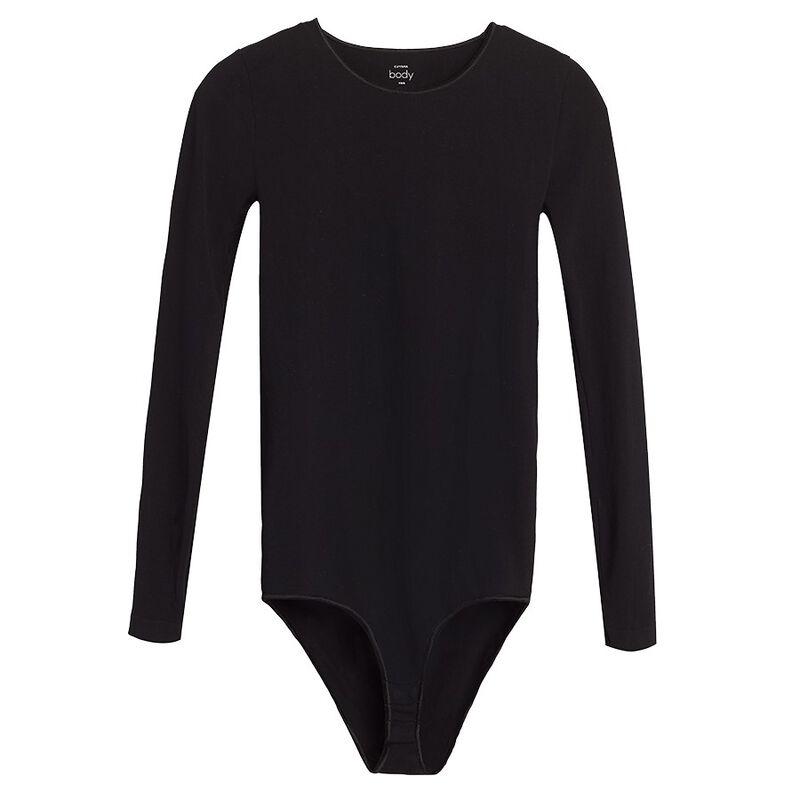 Seamless Long Sleeve Bodysuit in Black