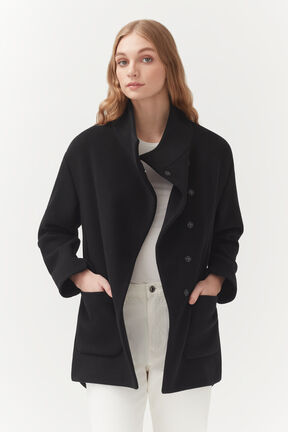 Wool High-Low Jacket, Black, plp