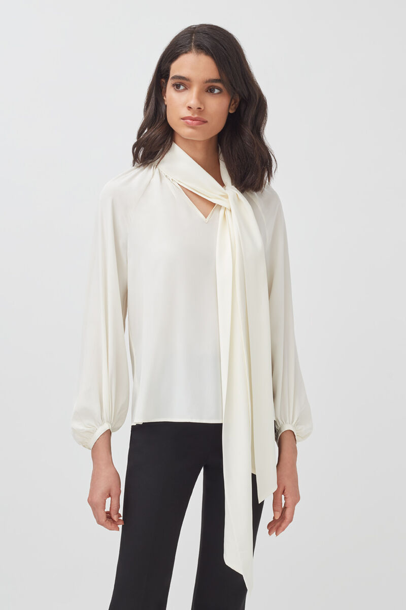 Silk Bow Blouse in White