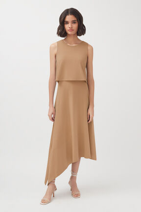 Asymmetrical Overlay Dress, Camel, plp