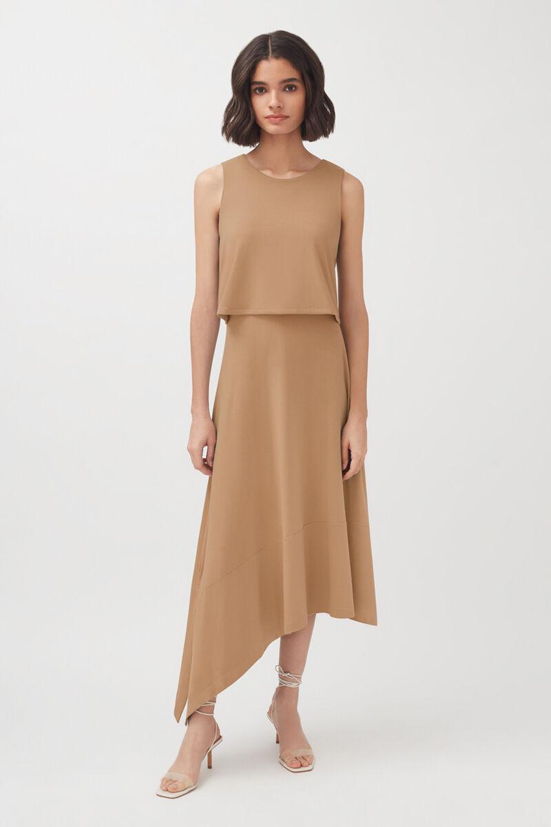 Asymmetrical Overlay Dress, Camel, large