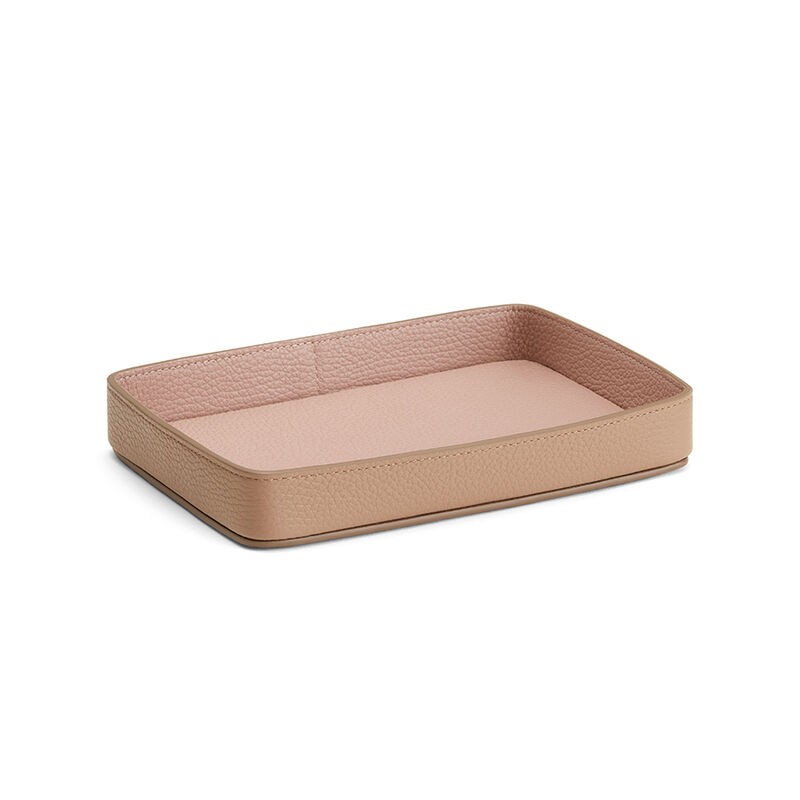 Leather Organizer Tray in Cappuccino/Soft Rose