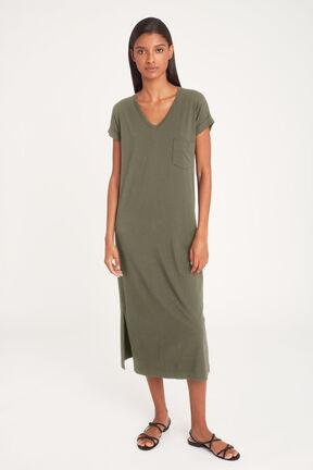 V-Neck Midi Dress in Olive