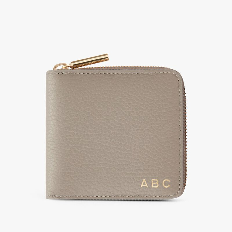 Small Classic Zip Around Wallet in Stone