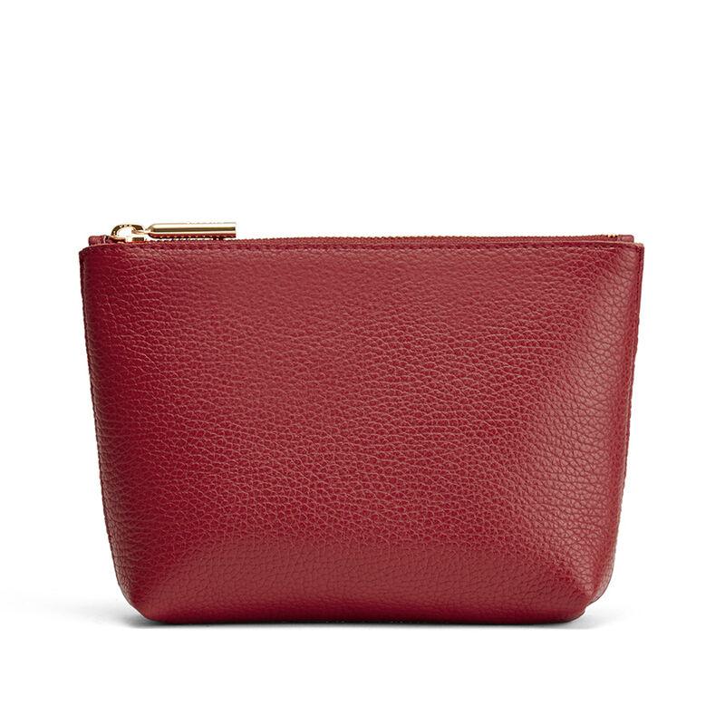 Mini Leather Zipper Pouch in Ruby