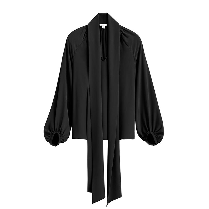 Silk Bow Blouse in Black