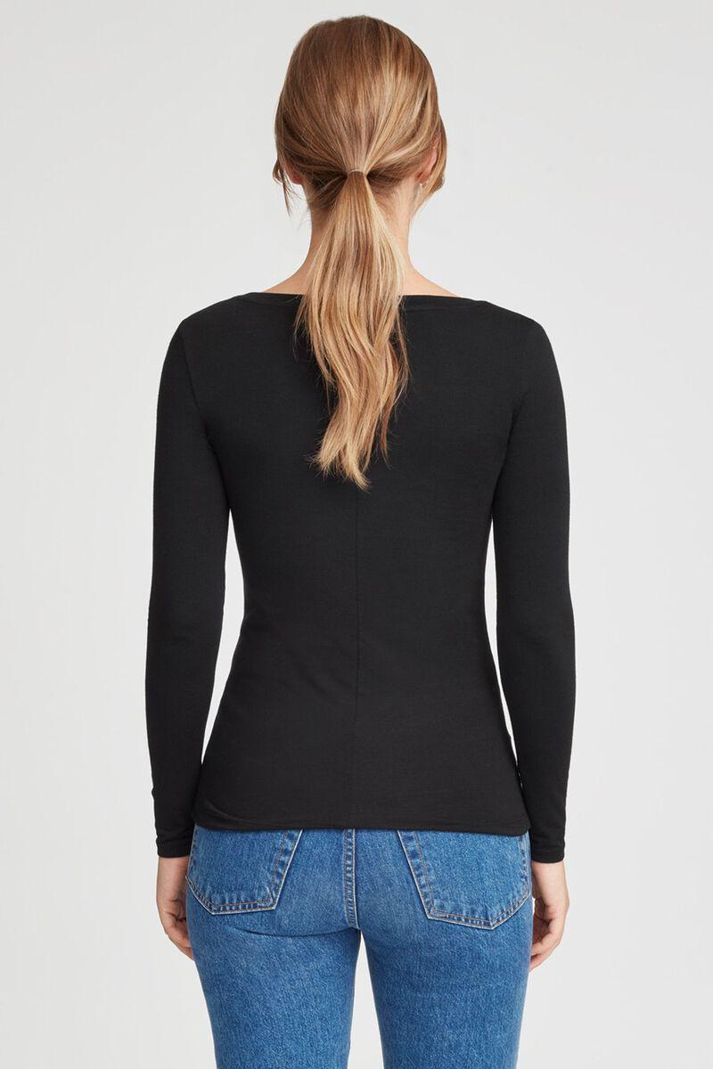 Slim Wide V-Neck Long Sleeve Tee in Black