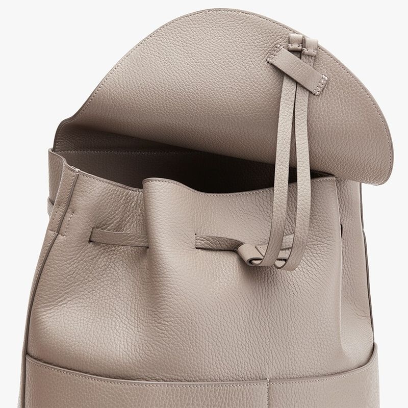 Large Leather Backpack in Stone