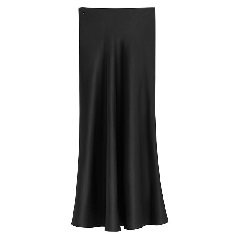 Charmeuse Midi Skirt in Black