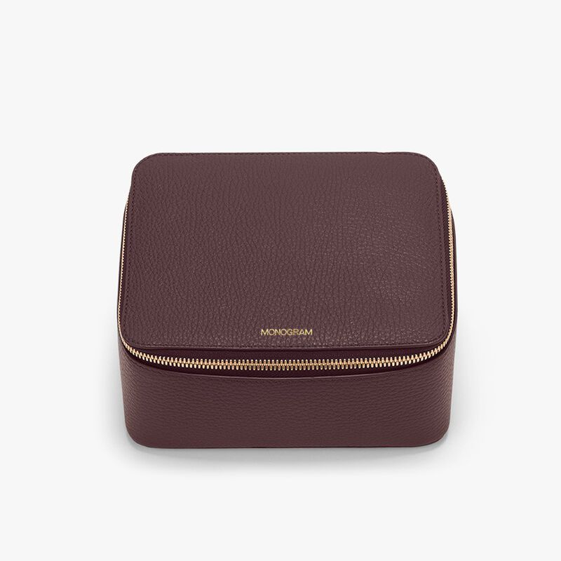 Leather Jewelry Case in Burgundy