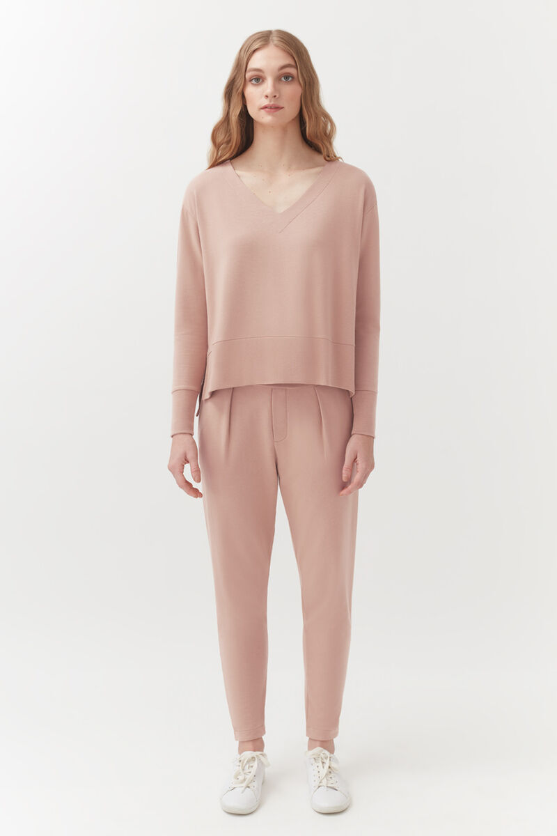 French Terry Pleated Front Pant in Quartz