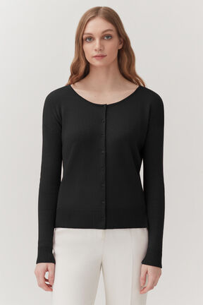 Single-Origin Cashmere Cardigan in Black