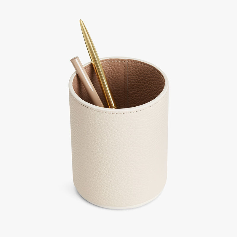Leather Organizer Cup in Ecru/Cappuccino
