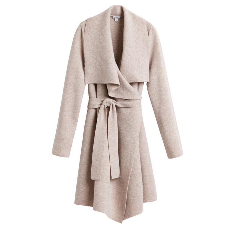 Wool Cashmere Short Wrap Coat in Beige