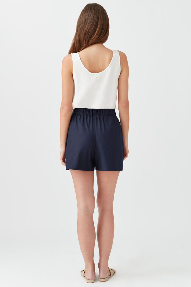 Linen Pleated Front Shorts in Navy