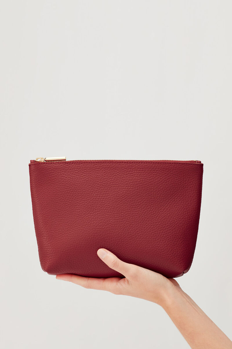Small Leather Zipper Pouch, Ruby, large