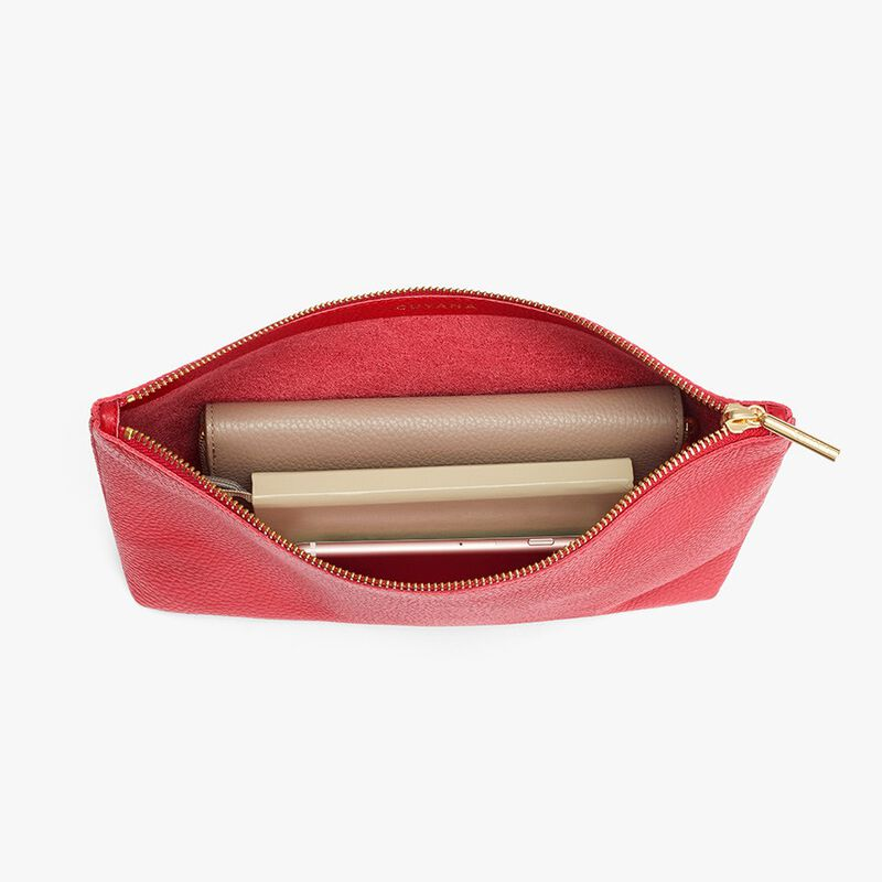 Medium Leather Zipper Pouch in Red