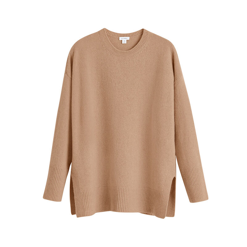 Recycled Cashmere Crewneck Sweater in Camel