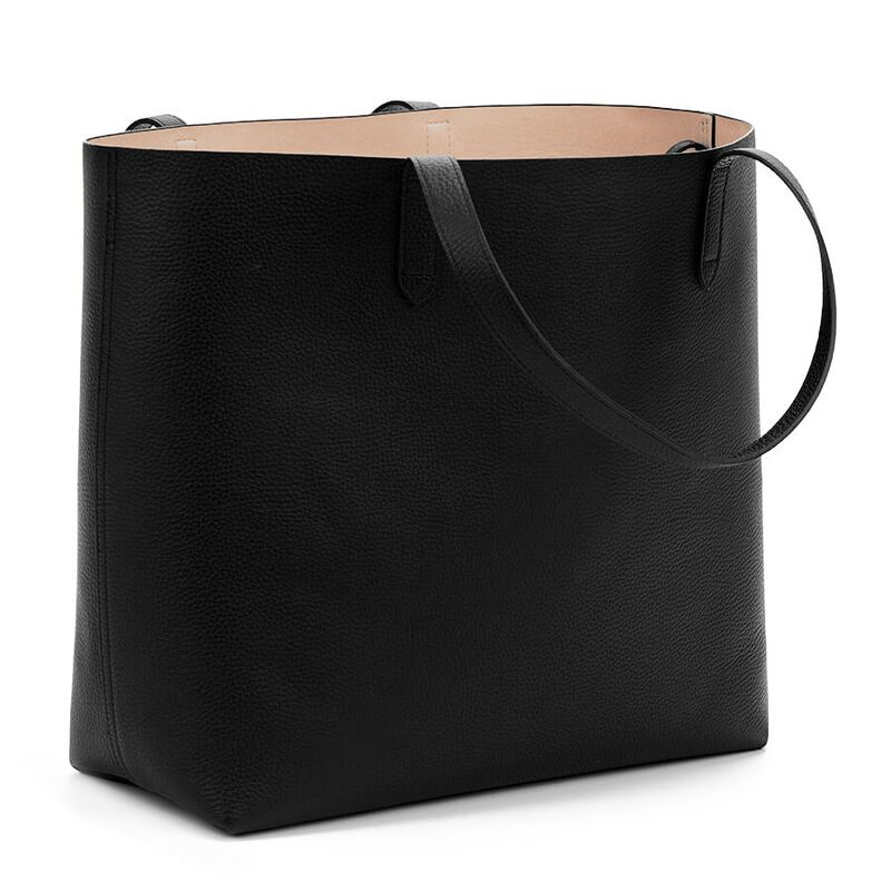 Classic Structured Leather Tote in Black/Blush