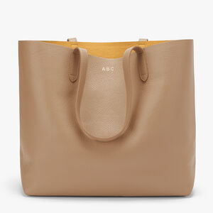 Classic Structured Leather Tote, Cappuccino/Yellow (Limited Edition), mono-gallery