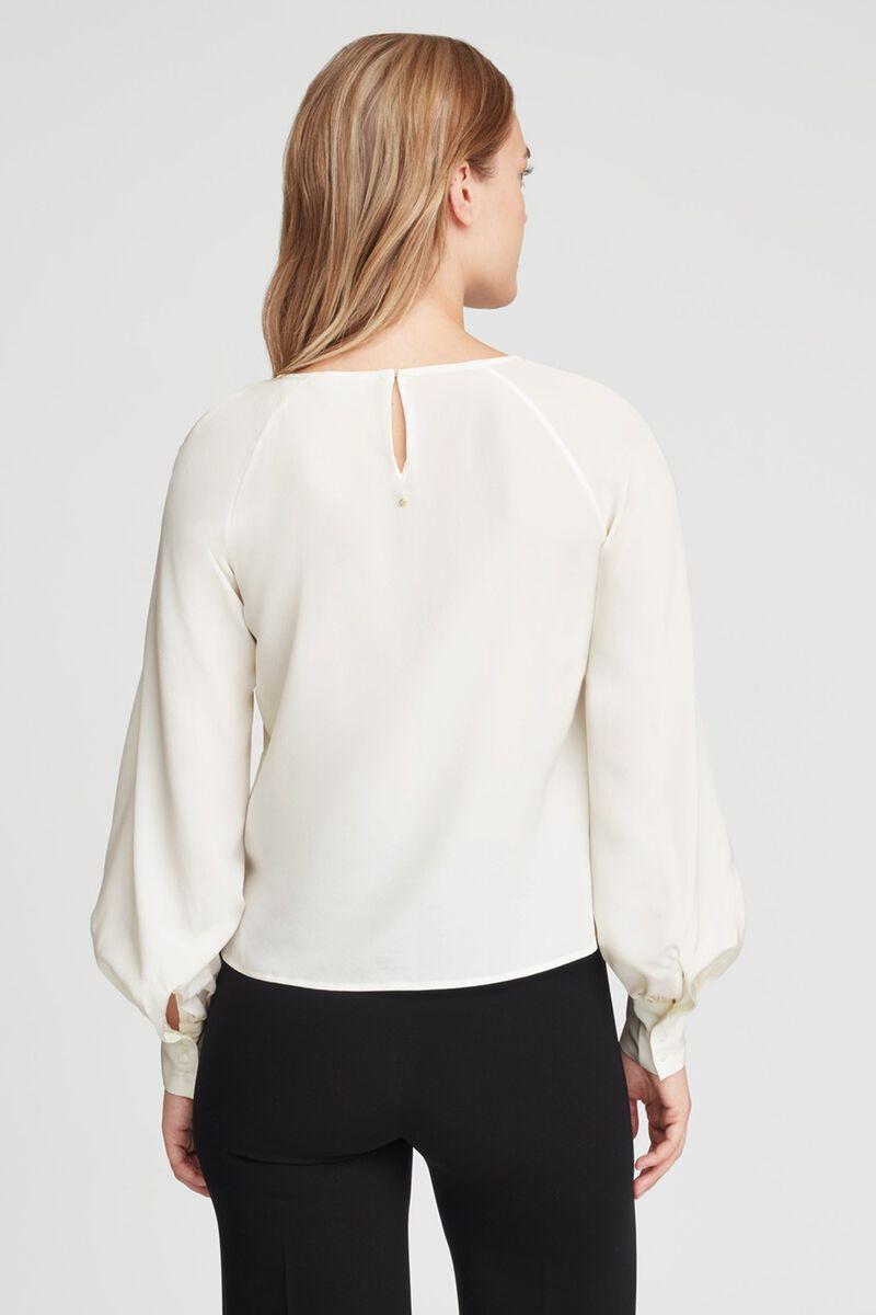 Silk Balloon Sleeve Blouse in White