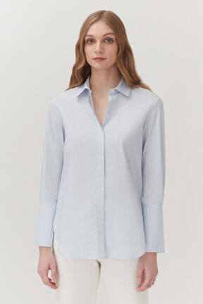 Poplin Overlay Shirt in Light Blue