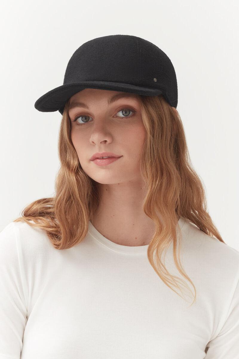 Wool Baseball Cap, Black, large