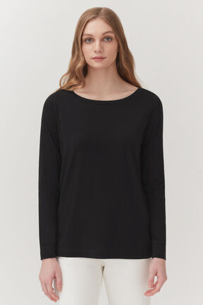 Pima Boatneck Long Sleeve Tee in Black