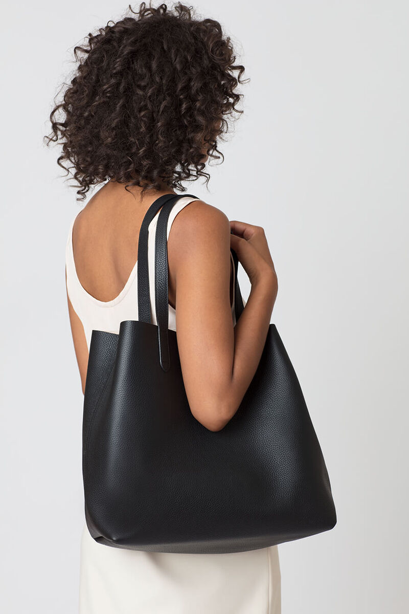 Classic Structured Leather Tote in Black/Caramel