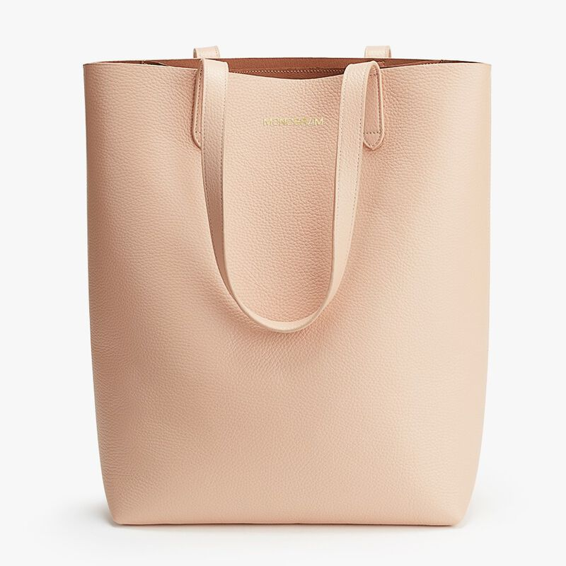 Tall Structured Leather Tote in Blush
