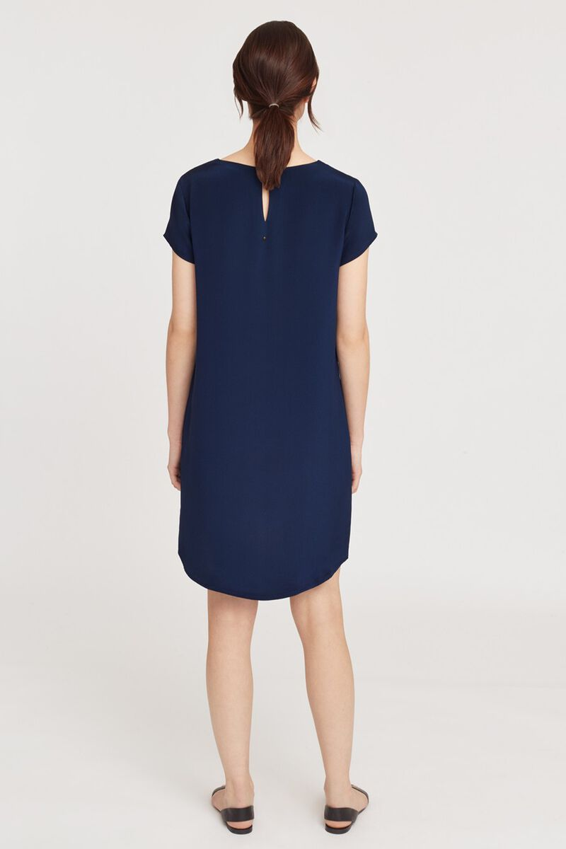 Silk Tee Dress in Navy