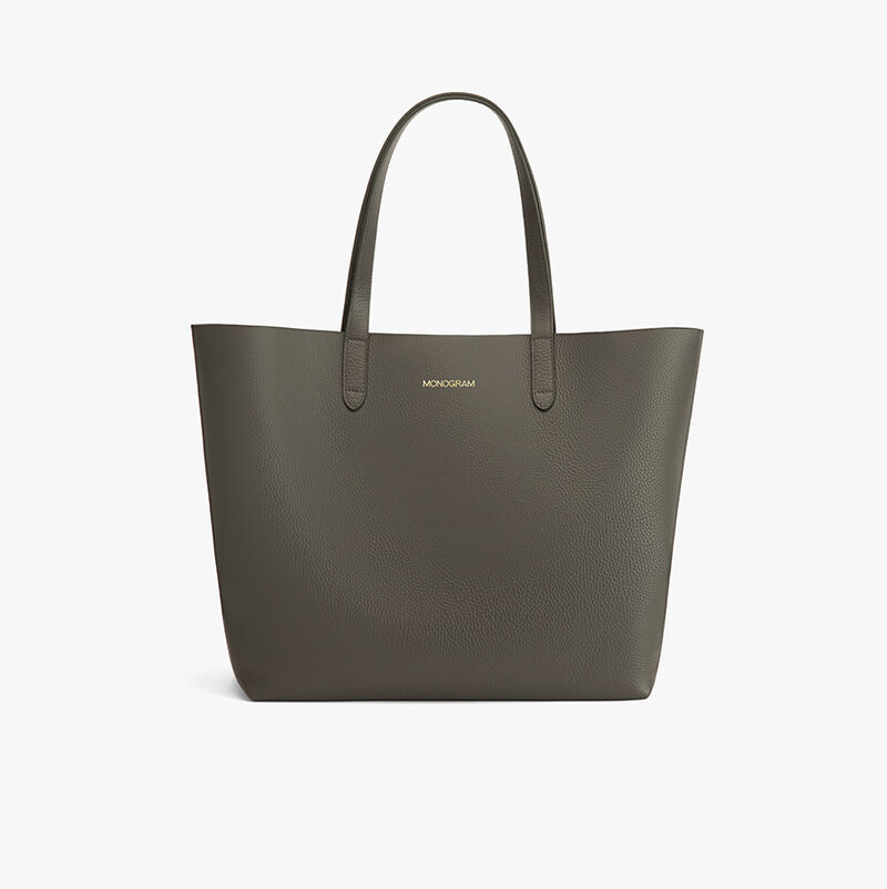 Classic Leather Tote in Dark Olive - Painted