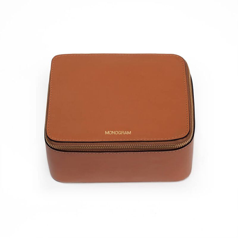 Leather Jewelry Case in Caramel