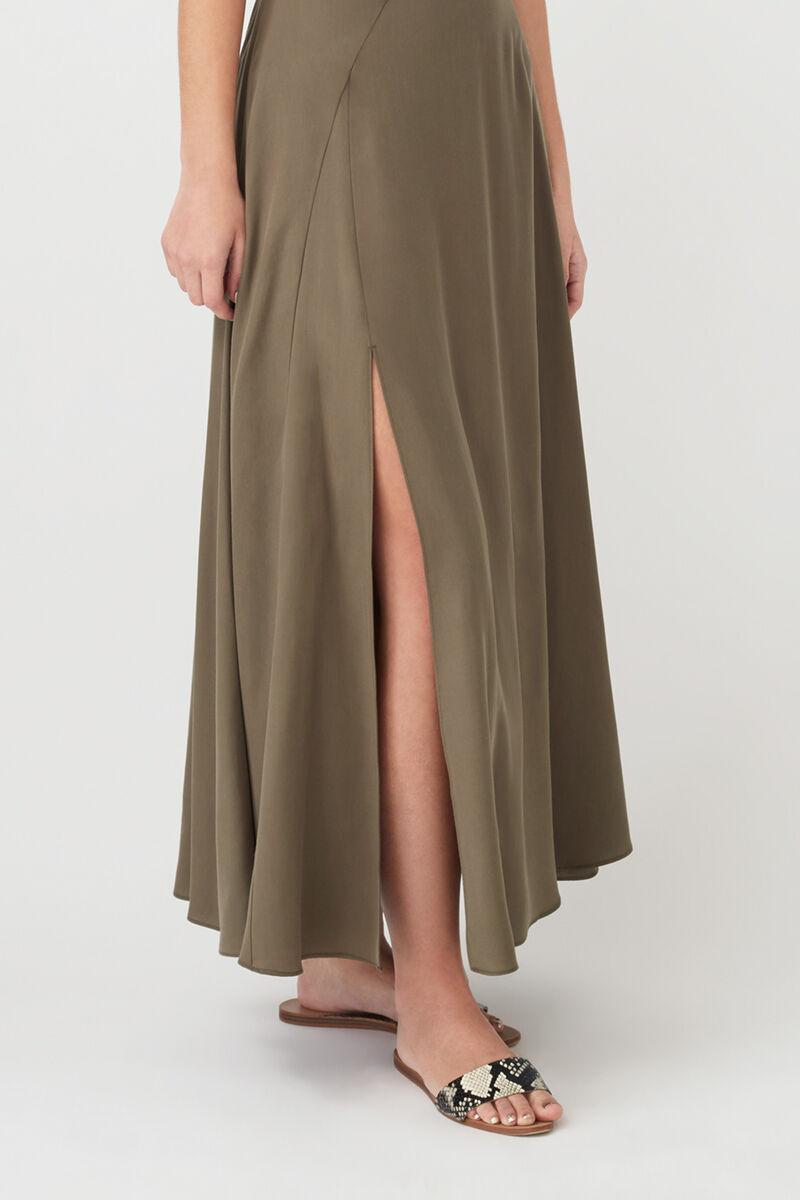 Tencel Split Front Maxi Skirt in Olive