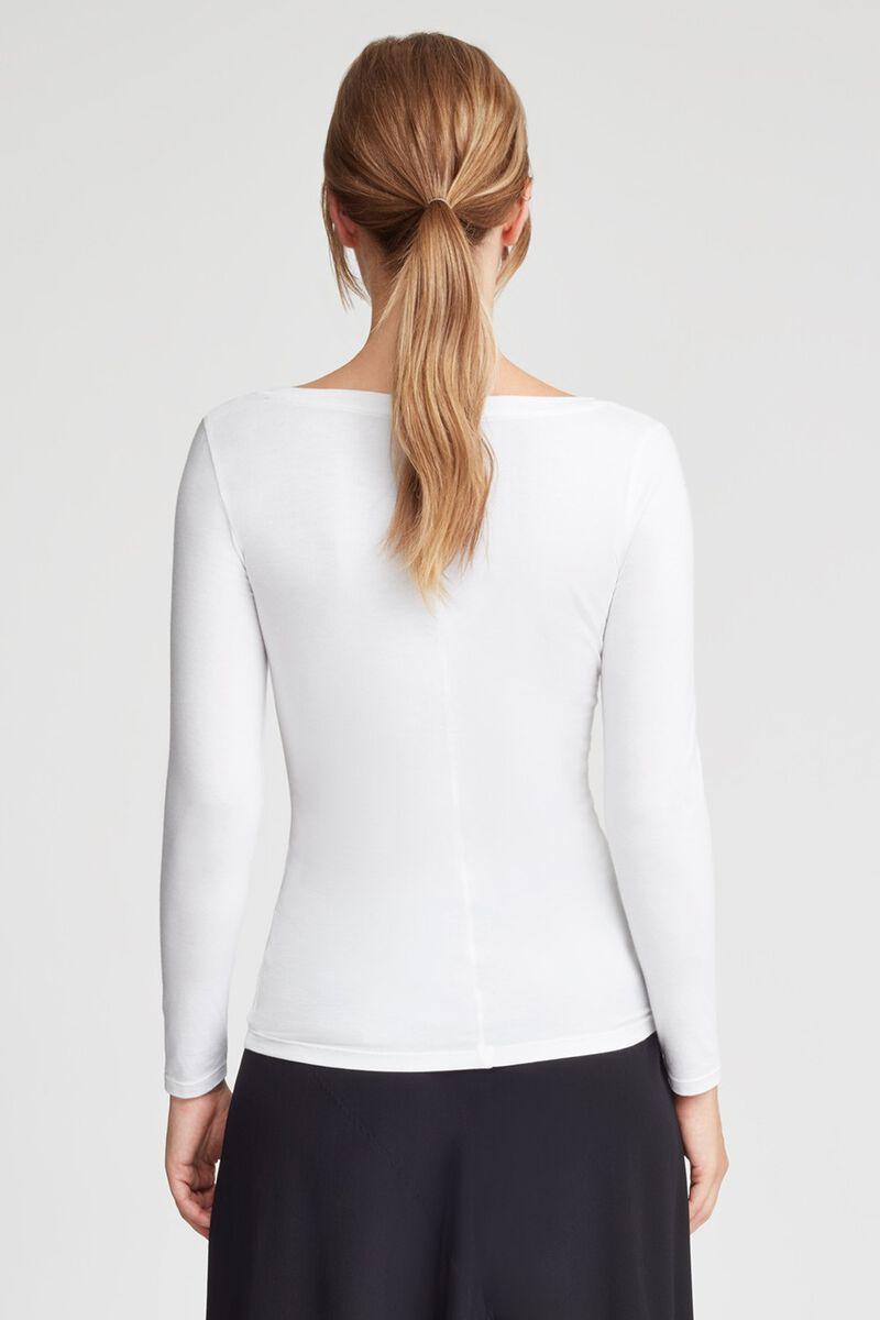 Slim Wide V-Neck Long Sleeve Tee in White