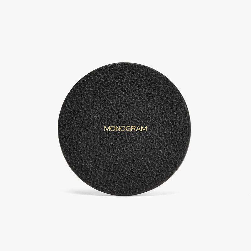 Leather Coasters in Black/Stone