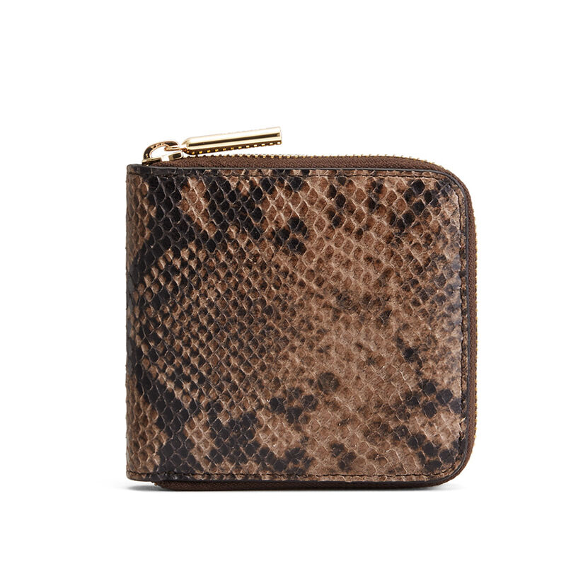 Small Classic Zip Around Wallet in Brown Snake