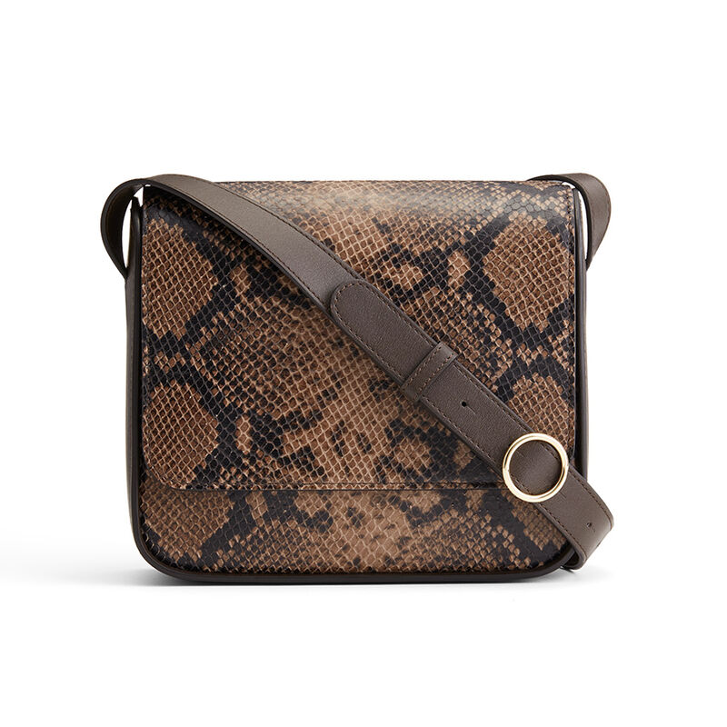 Box Crossbody in Brown Snake