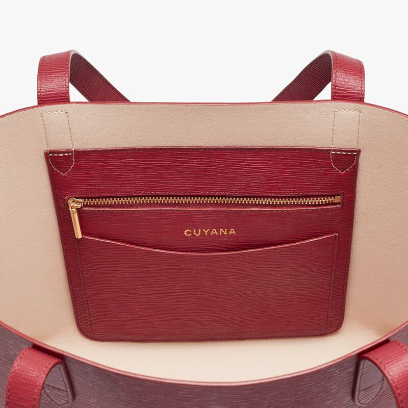 Small Structured Leather Tote in Red/Blush